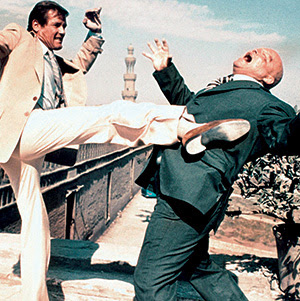 James Bond kicking a baddie