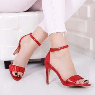 Sandale Jojota rosii cu toc simple elegante de ocazii