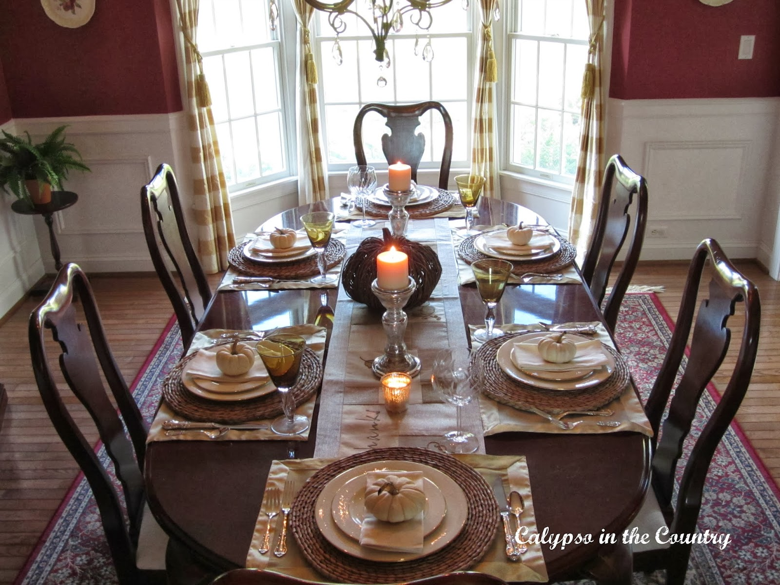 Autumn Table Setting in the Dining Room using White Pumpkins