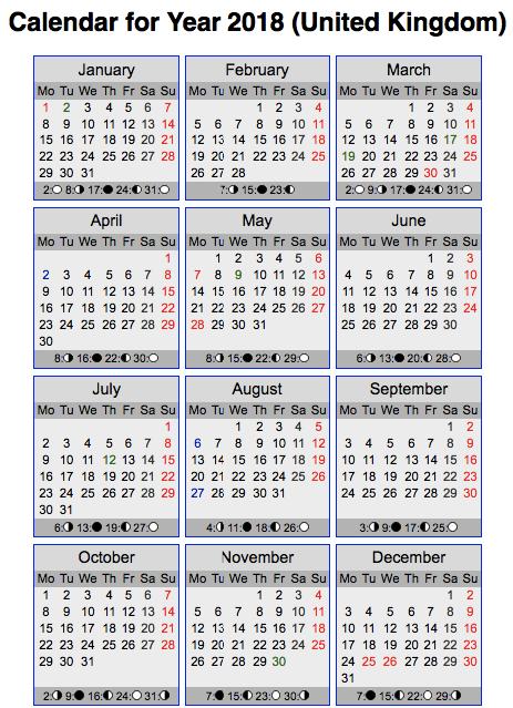 Calendar 2018 United Kingdom Holidays Observances