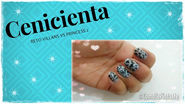 banner reto villans vs princess fondo azul con uñas estampadas en negro y celeste