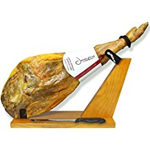 Serrano Ham Bone in from Spain 14.7 - 17 lb + Ham Stand + Knife, Cured Spanish Jamon , Made with Mediterranean Sea Salt, NO Nitrates or Nitrites