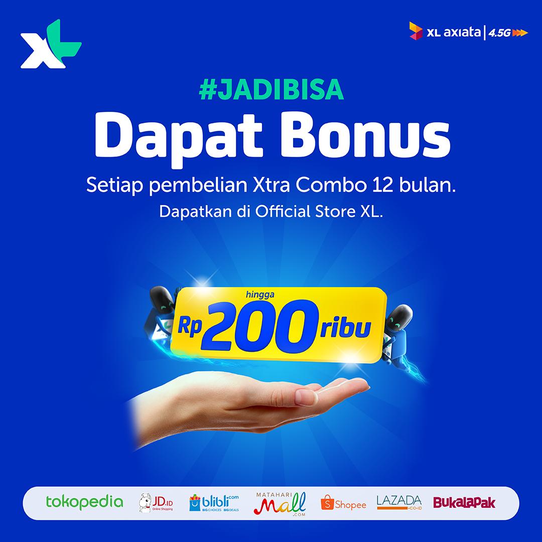 XL - Promo Beli Xtra Combo 12 Bulan di Official Store Free Bonus Pulsa s.d 200 Ribu
