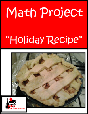 Free math project for holiday recipes - covers measurement, addition, subtraction, rounding and elapsed time - from Heidi Raki of Raki's Rad Resources.
