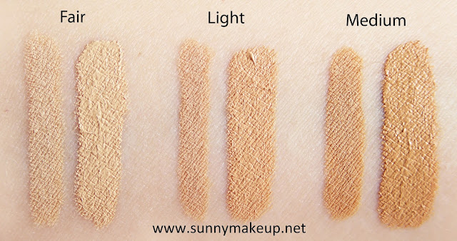 Swatch Neve Cosmetics - Nascondino Double Precision Concealer. Correttori nelle colorazioni Fair, Light, Medium.