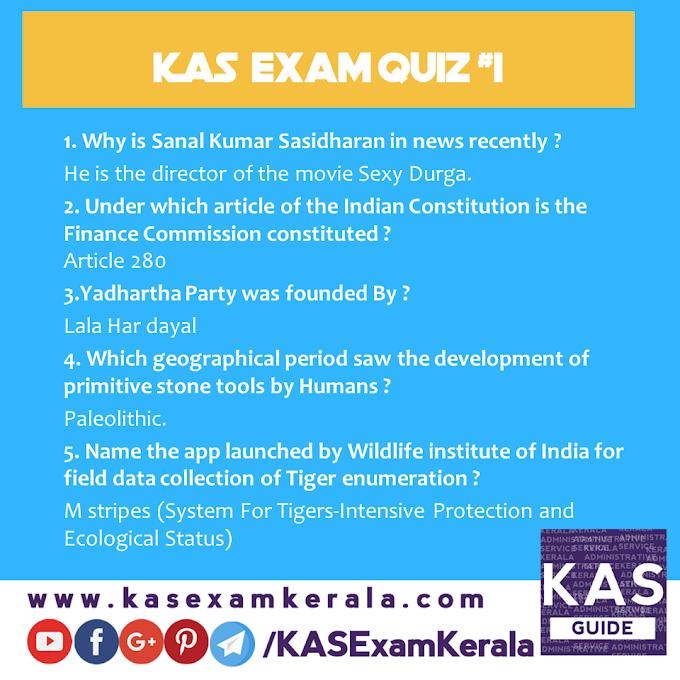 Daily Quiz for Kerala Administrative Service Exam  #1