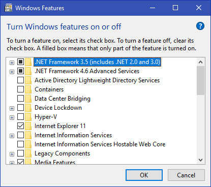 .NET Frame Work 3.5 Windows 10 8