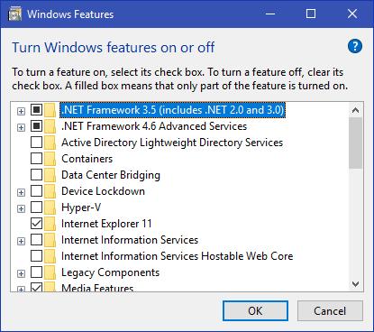 .NET Frame Work 3.5 Windows 10 8