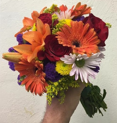 Bright Early Autumn Wedding Flowers Clutch Bouquet by Stein Your Florist Co.
