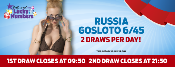 Russia Gosloto 6/45 - Lotto - Lucky Numbers - Hollywoodbets