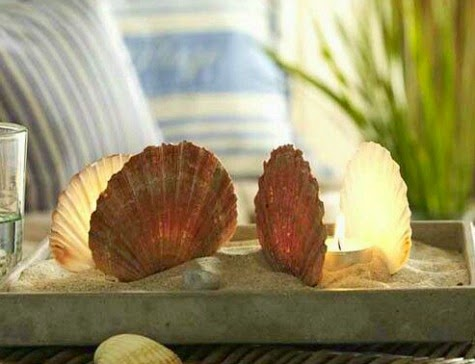 Tray with Scallop Shell and Candles