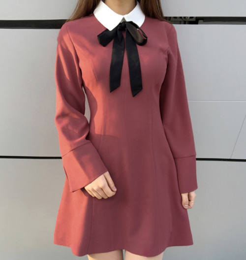 Ribbon Neck Contrast Collar Mini Dress