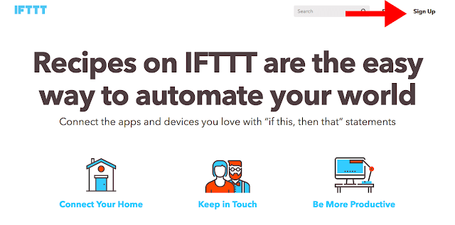 sign up IFTTT to connect Blogger with Facebook