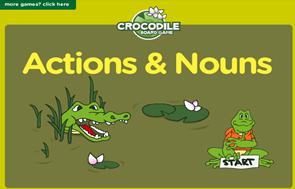 http://www.eslgamesplus.com/action-verbs-noun-collocations-esl-vocabulary-grammar-interactive-crocodile-board-game/