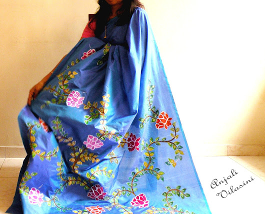 hand painted copper blue silk saree