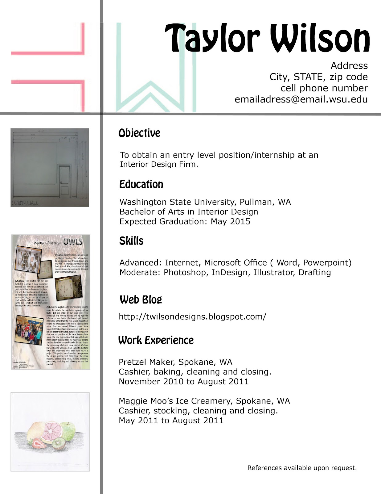 resume for interior design internship
