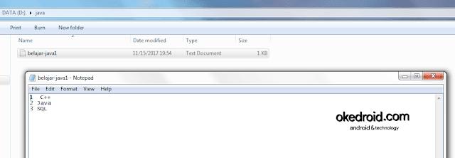 Contoh file TXT berhasil dibuat program java