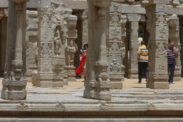 The famous decorated pillars of Veerbhadra Temple, Lepakshi, Andhra Pradesh