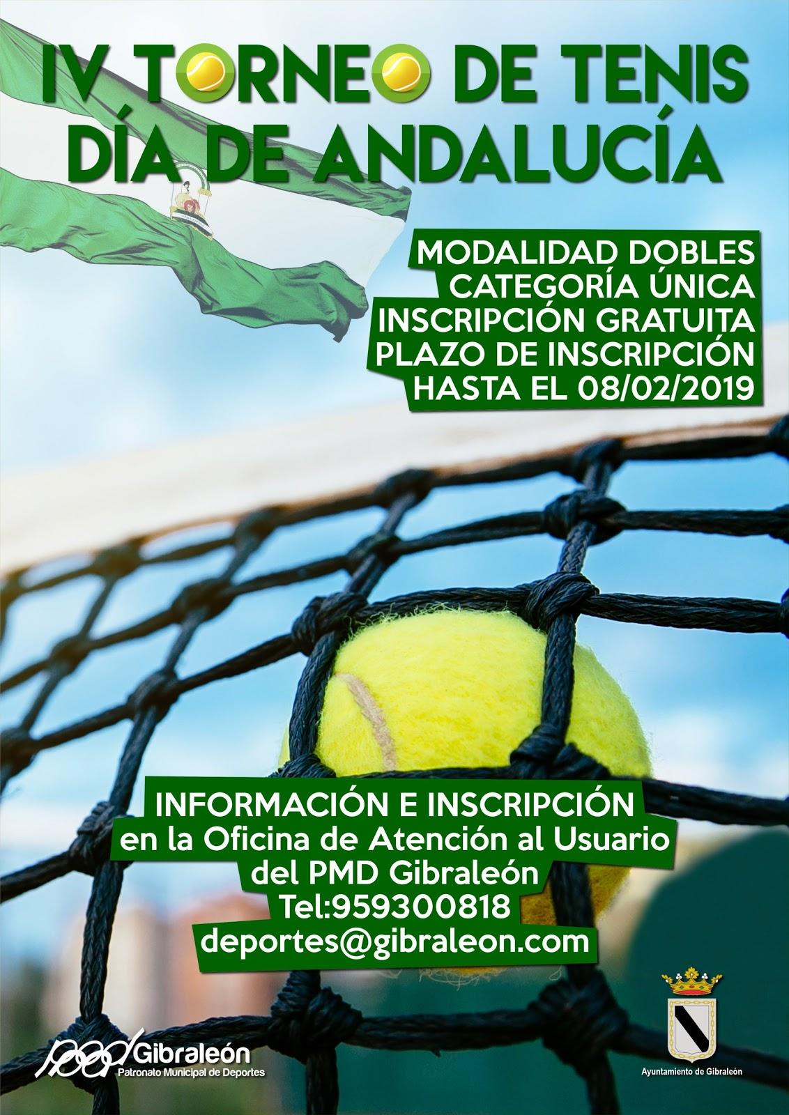 El Patronato Municipal de Deportes de Gibraleón abre plazo de inscripción  para el IV Torneo de Tenis Día de Andalucía en modalidad de dobles. Este  torneo se ... 190bc88feeedb
