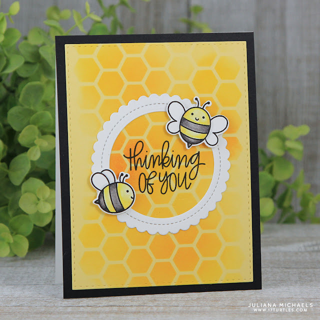 Thinking Of You Card by Juliana Michaels featuring Pretty Pink Posh Bee Friends Stamp and Die Set