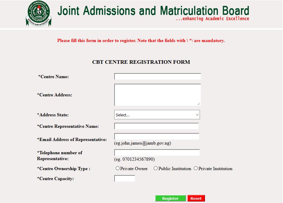 JAMB 2017 CBT Center Ownership Registration, Deadline Announced ...
