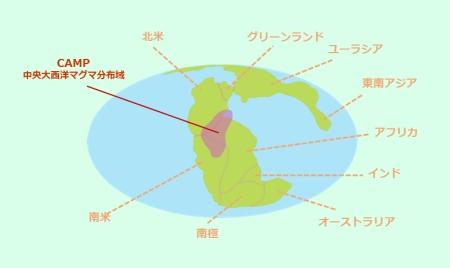 三畳紀/ジュラ紀境界の大量絶滅につながったと考えられる大規模噴火によって形成された中央大西洋マグマ分布(CAMP)