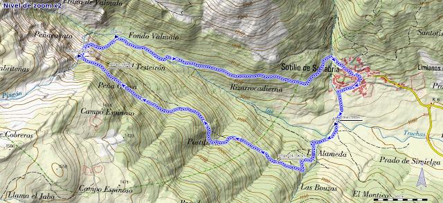 Mapa de la ruta a la Cascada de Sotillo