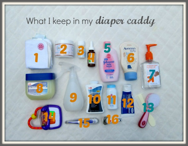 How I organize my diaper caddy for baby changing station