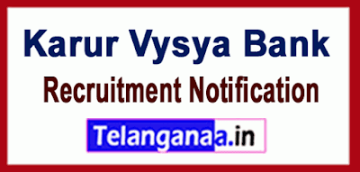 KVB Karur Vysya Bank Recruitment Notification