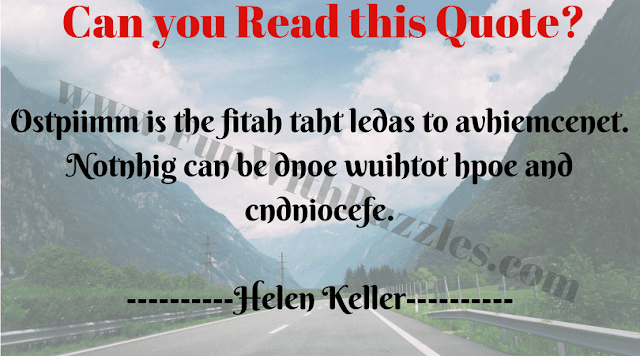 Reading Challenge of encrypted quote by Helen Keller