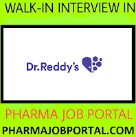 Dr.Reddy's Walk In Interviews at 31 October - 2 November