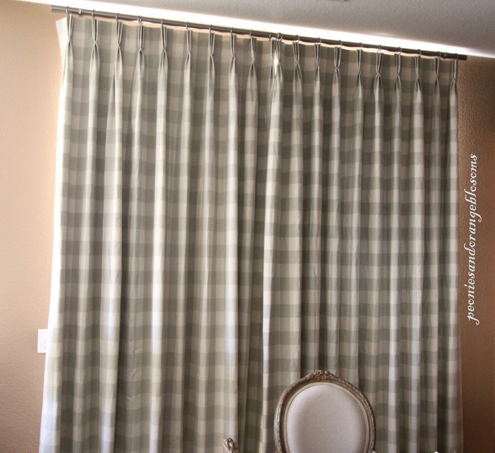 Peonies and orange blossoms french country curtains