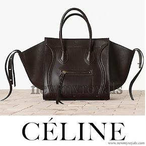 Princess Madeleine Style Celine Black Croc Embossed Phantom Bag