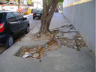 calçada esburacada