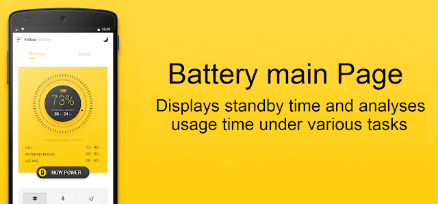 Yellow Battery App Main Page