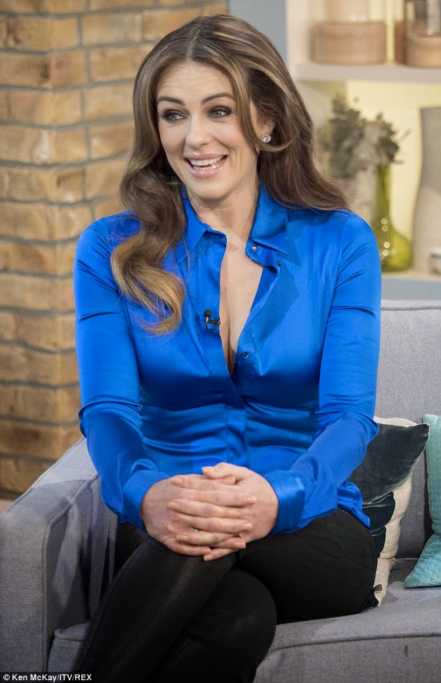Ladies In Satin Blouses Elizabeth Hurley - Blue Satin Blouse-8046