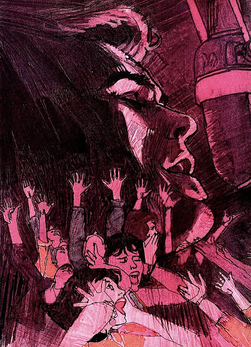 a Bob Peak illustration of a singing teen idol with screaming girls