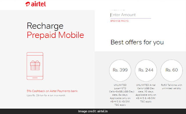 Airtel Announces RC 399 and RC 244 To Offer Unlimited Calling and 1GB/day 4G Data Valid Up to 84 Days To Counter Jio Dhan Dhana Dhan Offer