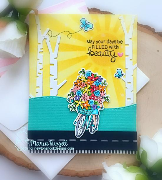 Spring card with bicycle by Maria Russell | Loads of Blooms Stamp Set, Forest Scene Builder Die Set and Sunscape Stencil by Newton's Nook Designs #newtonsnook #handmade