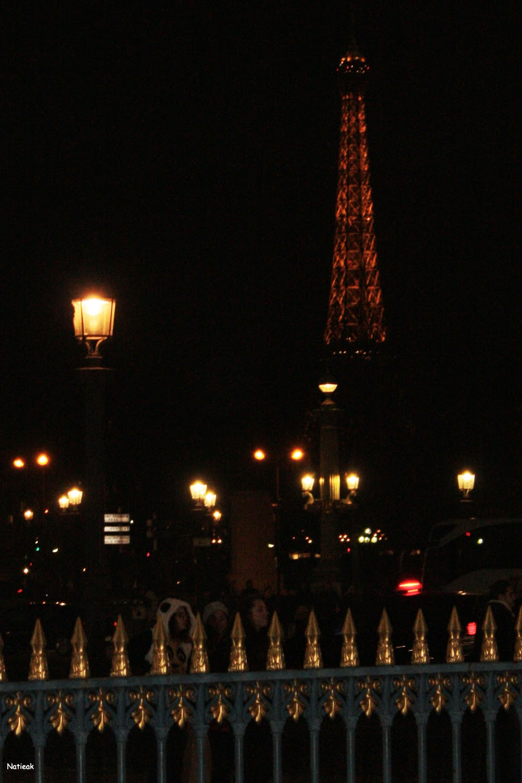 vue de l'Obélisque de nuit Champs-Elysées
