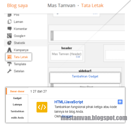 Tataletak Add Gadget / Widget Blogger