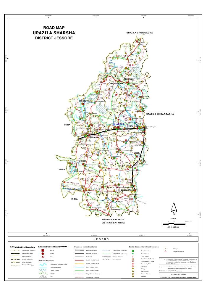 Sharsha Upazila Road Map Jessore District Bangladesh