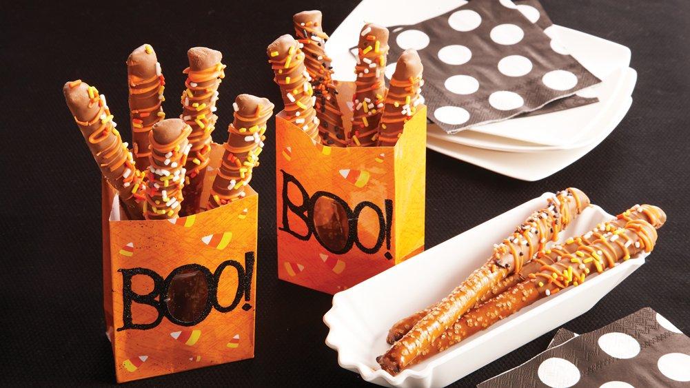 Halloween Pretzel Rods Chocolate Covered