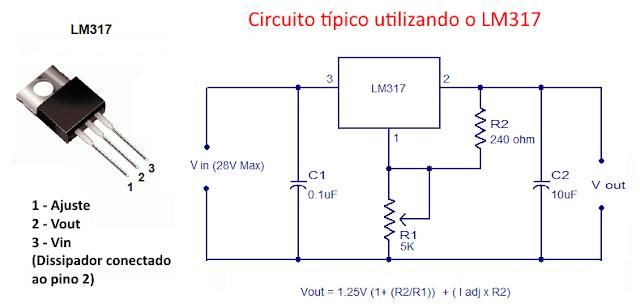 Circuito típico com LM317