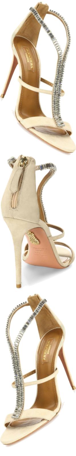 Aquazzura Constance Crystal-Embellished Suede Sandals