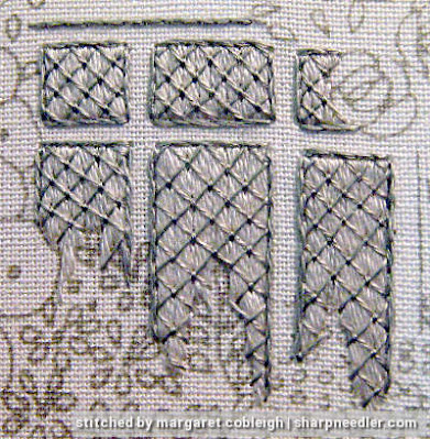 Elizabethan Window (by Roseworks): Embroidered window with trellis