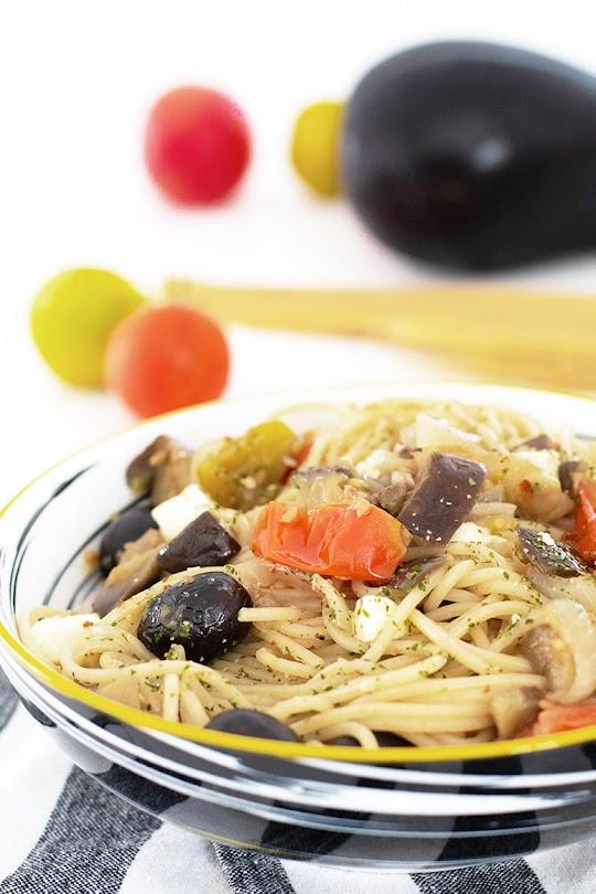 recette Spaghettis aubergine