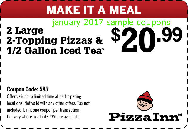 Today's top pizzainn coupon: Large BBQ Chicken Pizza & Tea $ Get 5 coupons for