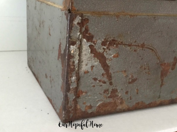 vintage craftsman toolbox upcycle planter patina rusted chippy