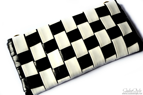 Black and White Check Woven Clutch